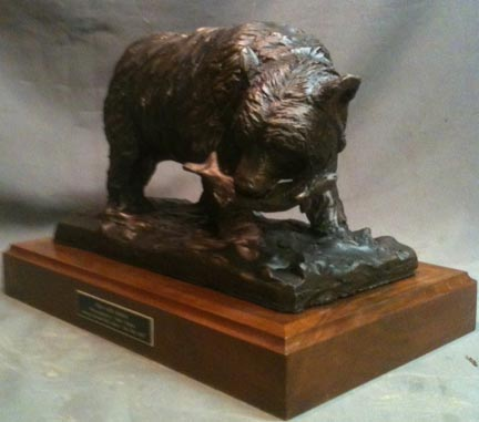 Alaskan Bear with Salmon bronze statue 3