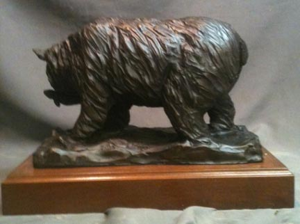Alaskan Bear with Salmon bronze statue 2