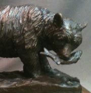 Alaska Bear and Salmon statue
